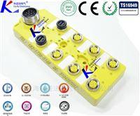 8端口M12插座式分线盒开关量输出定位销插座
